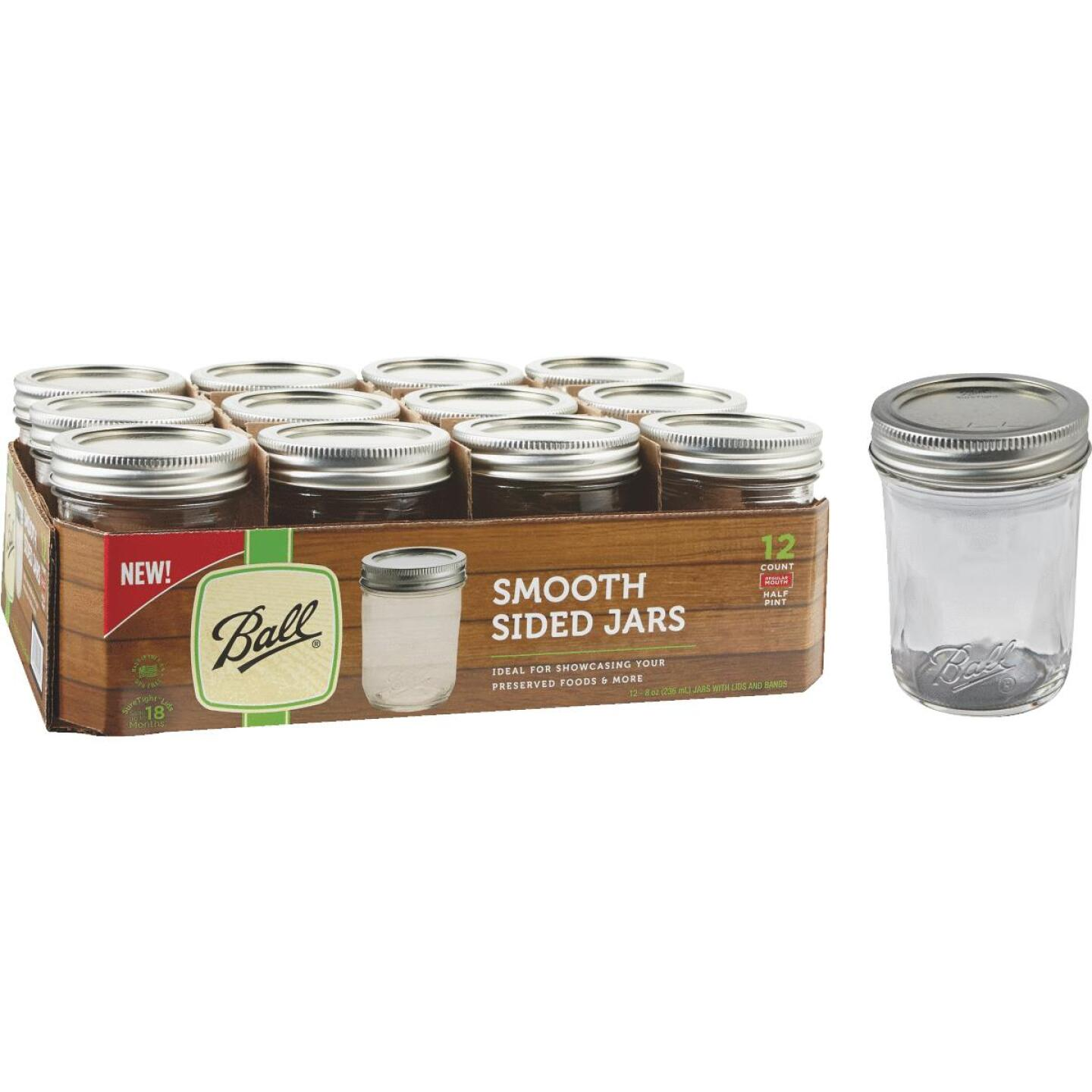 Ball 1/2 Pint Regular Mouth Smooth-Sided Silver Lid Canning Jar (12-Count) Image 1