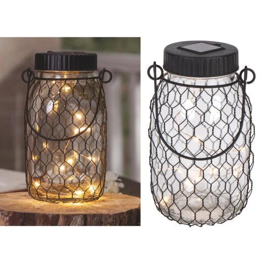Gerson Everlasting Glow 6.9 In. H. x 2.75 In. Dia. Black Top Mason Jar LED Solar Lantern